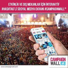 Etkinlik ve dış mekanlar için interaktif sosyal medya ekranı: #CampaignWall  > www.campaignwall.com
