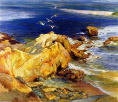 Laguna Beach, huile sur toile de Mathias J Alten (1871-1938, United States)