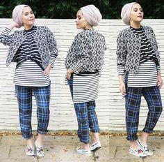 Black and white stripes check cuffed Hijab Fashion, Fashion Beauty, Womens Fashion, Unique Fashion, Fashion Ideas, Fashion Trends, Dina Tokio, Turban Style, Muslim Women