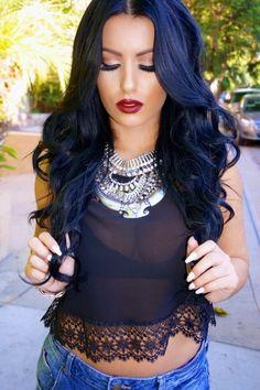 blue black hair color dark blue hair navy midnight blue hair blue hairstyles newest hairstyles colored hair haircolor hair makeup glam makeup - Midnight Blue Black Hair Color