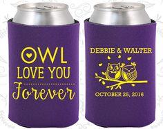 Owl Love You Forever, Wedding, Owl Wedding Favors, Owl, Love you Forever, Custom Koozies (368)