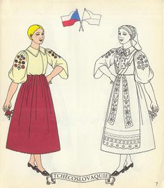Jolis Costumes: Album a Decouper, Composer, Colorier / eurocolor Czechoslovakia Paper Doll Costume, Folk Costume, Costumes Around The World, World Thinking Day, Vintage Paper Dolls, Retro Toys, Art Pages, Adult Coloring Pages, French Vintage