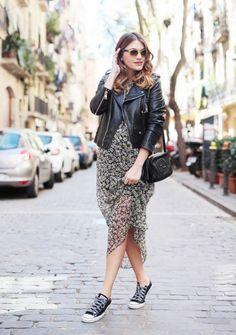 vestido floral jaqueta de couro