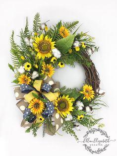Sunflower Wreath, Farmhouse Sunflower, Summer Wreaths, Summer Sunflower Wreath, Sunflower Decor, Sunflower Wreath for front door#ad