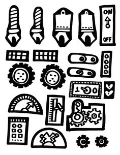 Robot pieces for coloring.  Add colored squares and rectangles of paper and let them create their own robot.
