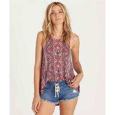 Billabong Never Know Tank Red Knit Tops S ($30) ❤ liked on Polyvore featuring tops, red, red top, red singlet, billabong, red tank top and billabong tank tops