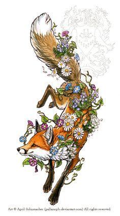 Cute fox in flowers. Cute fox in flowers. Tattoo Drawings, Art Drawings, Tattoo Ink, Arm Tattoo, Fuchs Baby, Fox Tattoo Design, Fuchs Tattoo, Fox Drawing, Animal Tattoos