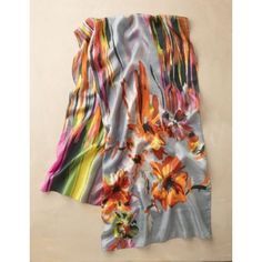 TravelSmith Womens Abstract Watercolors Silk Scarf