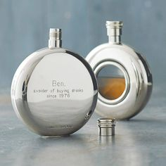 A truly sleek round personalised hip flask with a screw top. The round window hip flask has a highly polished finish and engraved back. This lovely personalised hip flask window hip flask has a … Wedding Hip Flasks, Wedding Gifts, Wedding Ideas, Pub Wedding, Dream Wedding, Wedding Shit, Wedding Bells, Personalised Hip Flask, Gifts For Him