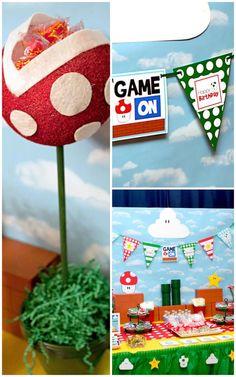 Mario Gamer Party WITH SO MANY IDEAS! Via Karas Party Ideas | KarasPartyIdeas.com