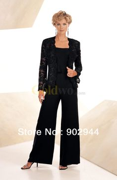 For mama...Black/Navy Blue Chiffon Beading Lace Casual Mother Of the Bride Pant Suits With Long Sleeve Jacket Plus Size $169.32