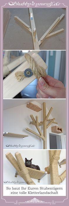 Mit Holzbalken Und Sisalseil Könnt Ihr Euren Katzen Eine Tolle  Kletterlandschaft Selber Bauen. Oller Kratzbaum