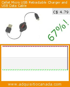 Cellet Micro USB Retractable Charger and USB Data Cable (Wireless Phone Accessory). Drop 67%! Current price C$ 4.79, the previous price was C$ 14.61. http://www.adquisitiocanada.com/cellet/micro-usb-retractable