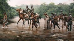 """""""The Road of Cortés"""" by Augusto Ferrer-Dalmau, oil on canvas, Lead by a Tlaxcaltec warrior with drawn macahuitl, and accompanied by a priest and native porters, Hernán Cortés and his men ride through Mexico [[MORE]] I like this picture because. Conquistador, Historical Art, Historical Pictures, Historical Illustrations, Military Art, Military History, Conquest Of Paradise, Age Of King, Ferrat"""