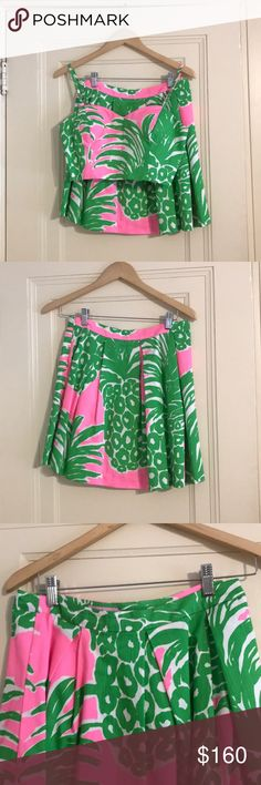 Lilly Pullitzer 2-piece Skirt and Top Only worn twice! Elastic back on top Lilly Pulitzer Skirts Skirt Sets