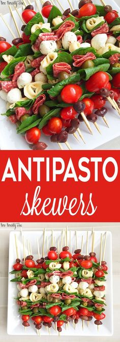 Antipasto Skewers Antipasto skewers = easiest appetizer EVER. Currently I& Skewers Antipasto skewers: easy to make and perfect for any occasion. These antipasto skewers are excellent appetizers for parties, picnics, and more!Eat Stop Eat To Loss Weight - Great Appetizers, Appetizer Recipes, Dinner Recipes, Appetizer Skewers, Fruit Skewers, Party Appetizers, Appetizer Ideas, Kebabs, Party Food On Skewers