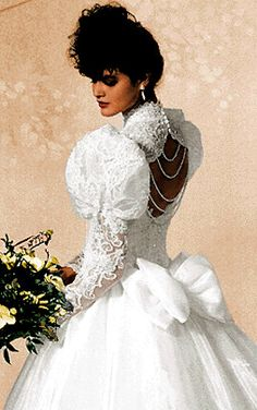 1980s wedding dress...strands of pearls across the back.