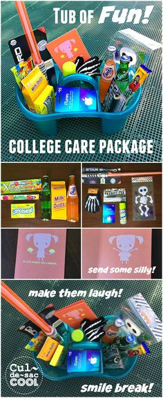 "TUB OF FUN! COLLEGE CARE PACKAGE...Send them some ""serious"" fun! 