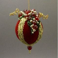 Handmade Victorian Inspired Red Velvet Christmas Ball Wine Theme Ornament with Glass Bead Grapes by Towers and Turrets