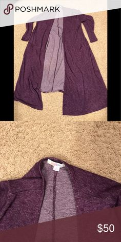 Lularoe Sarah purple long cardigan Lightweight cardigan VERY comfortable. Only worn twice. In like new condition. Make me an offer! LuLaRoe Sweaters Cardigans