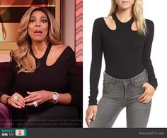 3f46e14f1d10 Wendy s black bodysuit with cutouts on The Wendy Williams Show