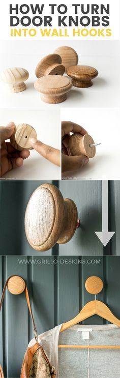 DIY WALL HOOKS - Learn an easy way you can turn wooden cabinet door knobs into stylish modern wall hooks for your coats and accessories!