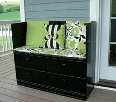 DIY Your Old Cabinet into a Modern Glossy Black (Spray Paint) Bench, with Applegreen/ White/ Black Detailed Fabric. Leaving Out the Top of the Cabinet and one Drawer. Add a Soft Mattress and some Comfy Pillows :-)