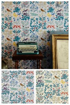 Trustworth Studio's Apothecary's Garden wallpaper: floral / fauna / birds / butterflies / crickets / grasshoppers / thistle