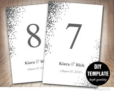 Wedding Table Card Template Silver Cards Grey Numbers Instant