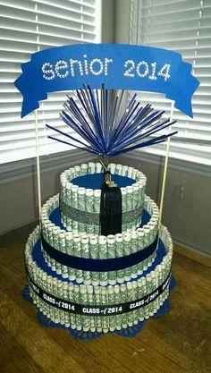 Money cake for daughter's graduation. Money cake for daughter's graduation. Graduation Party Desserts, Diy Graduation Gifts, Graduation Food, Personalized Graduation Gifts, Graduation Celebration, Graduation Decorations, Grad Parties, Graduation Ornament, Nursing Graduation