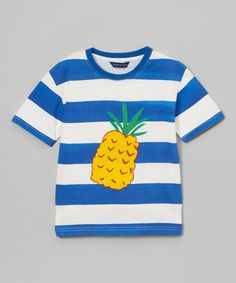 Navy Blue Rugby Stripe Pineapple Tee - Toddler & Boys