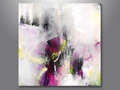 Original große XL abstrakte Malerei, abstrakte Kunst, bunte Artwork, Leinwand Gemälde, Magenta weiß Fuchsia gelb-grün Acrylgemälde