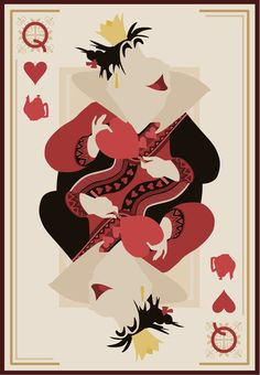 Queen of Hearts - Need a Disney themed deck of cards like this!