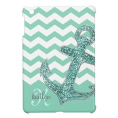 For Kaitlyn... Aqua Glitter Anchor White Chevron Personalized Case For The iPad Mini