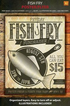 Fish Fry Event or Fundraiser Poster / Flyer template.