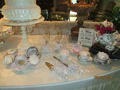 Cake silverware and wine glasses