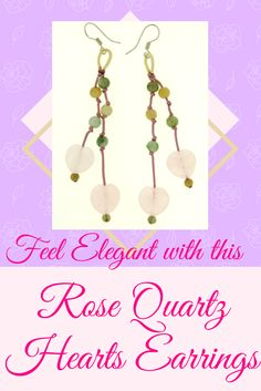 Trendy – yet – affordable! Double bold heart rose quartz earrings are embellished with vibrant colorful jade beads to set a glorious effect in this substantial earring. Double heart – cutting from rose quartz dangle along as you wear them.