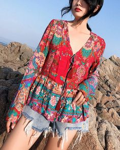 Floral Loose Long Sleeves Lace Up Blouses Shirt Bohemian Tops - gifthershoes Ethnic Fashion, Boho Fashion, Vetement Hippie Chic, Bohemian Tops, Striped Linen, Weekend Wear, Plus Size Blouses, Pattern Fashion, Shirt Blouses