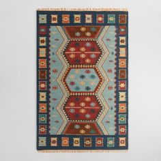 One of my favorite discoveries at WorldMarket.com: Blue Flatweave Wool Pradeep Area Rug