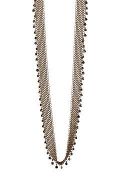 Black Diamond Glass Charm Mesh Link Necklace