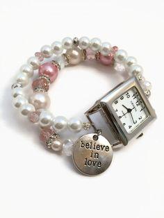 Pink Beaded Watch Bracelet Pink Watch Beaded by JulemiJewelry