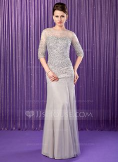 Mother of the Bride Dresses - $186.99 - Mermaid Scoop Neck Floor-Length Chiffon Tulle Mother of the Bride Dress With Beading Sequins (008019704) http://jjshouse.com/Mermaid-Scoop-Neck-Floor-Length-Chiffon-Tulle-Mother-Of-The-Bride-Dress-With-Beading-Sequins-008019704-g19704?pos=your_recent_history_1