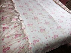 Antique French bedspread throw coverlet bed spread w pink roses decor floral pastel fabric w valances, vintage French bed linens bedding by MyFrenchAntiqueShop on Etsy