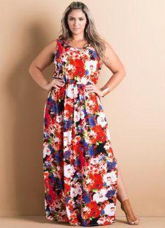 Vestido Longo com Fendas Floral Plus Size - Posthaus