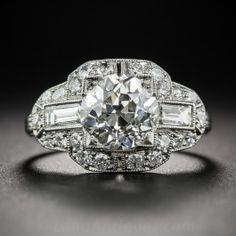 2.11 Carat Art Deco Engagement Ring GIA J - SI2 - What's New #vintagejewelry Art Deco Engagement Ring