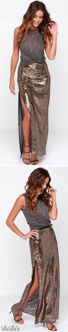 Closeup and Personal Gold Sequin Maxi Skirt