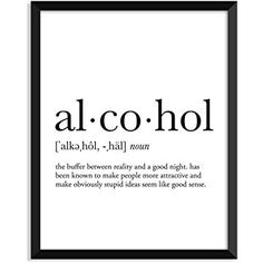 Serif Design Studios Alcohol Definition - Unframed Art Print Poster Or Greeting Card Dorm Walls, Dorm Room, Serif, Funny Definition, High Definition, Dictionary Art, Wall Decals, Wall Art, Printable Quotes