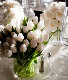 A fresh, garden look for wedding centerpieces with white tulips, white roses, and white hyrdrangea.  Photo by www.christinejohnsonphotography.com