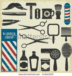 Vintage barber shop tools silhouette icons set 1 by Aleksandra Novakovic, via ShutterStock Vintage Barber, Ze Roberto, Hairdresser Tattoos, Boys Bathroom Decor, Vintage Hair Salons, Barber Shop Decor, Barber Sign, Barbershop Design, Barbershop Ideas