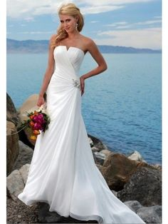 Stunning Sheath/Column Strapless Chiffon Wedding Dress